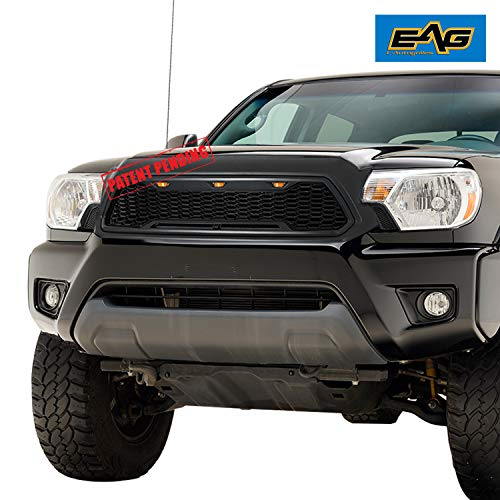 EAG Replacement Upper ABS Grille Front Grill with Amber LED Lights - Matte Black Fit for 12-15 Toyota Tacoma ()