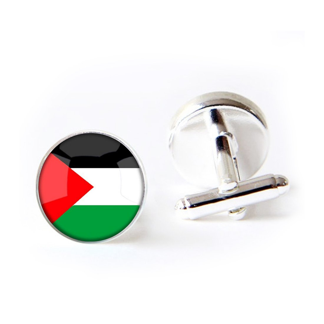 Unique Round Cufflinks Set The Hashemite Kingdom of Jordan National Flag Glass Cuff Dress Shirt Links Wedding Business Anniversary Gift for Him