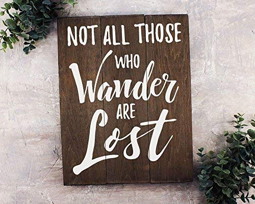 weewen Not All Those Who Wander are Lost Travel Gift Or Decor Travel Nursery Decor Lord of The Rings Decor Funny Quote Plaque Sign Home Craft Sign for Women Men