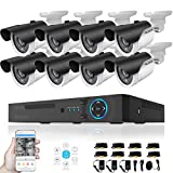 TECBOX Home Security Camera System AHD 8 Channel DVR (No Hard Drive) with 8 720P Weatherproof 60feet Night Vision Motion Detection Remote View Surveillance Cameras For Sale