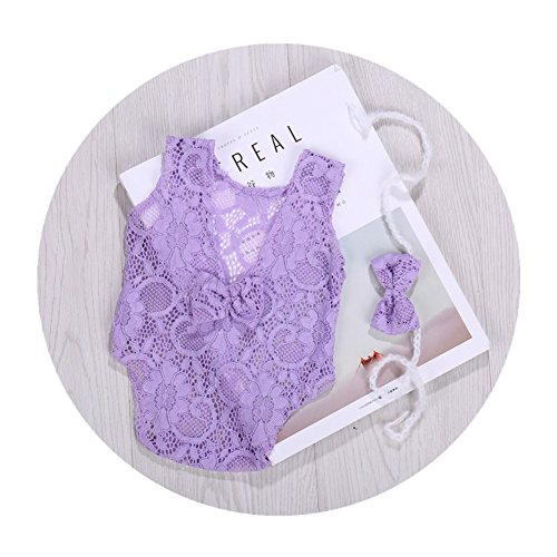 Newborn Infant Baby Photography Props Girls Lace Bow Vest Bodysuits Romper Photo Shoot Princess Clothes (Purple) by Vemonllas (Image #1)