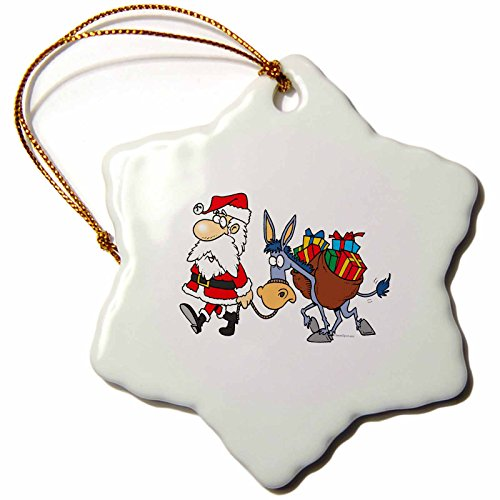 Silly Santa - 3dRose orn_104374_1 Silly Santa and Christmas Donkey-Snowflake Ornament, 3-Inch, Porcelain