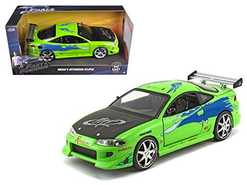 Brian's Mitsubishi Eclipse Green The Fast & Furious Movie (2001) 1/24 Model Car by Jada