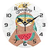 Dozili Cute Sloth Watermelon Decorative Wooden Round Wall Clock Arabic Numerals Design Non Ticking Wall Clock Large for Bedrooms, Living Room, Bathroom