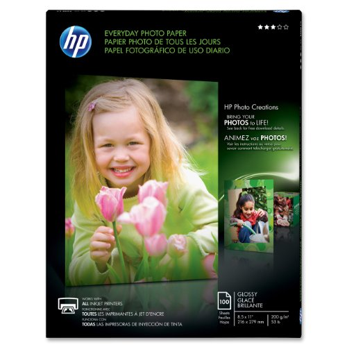 HP Q2509A Glossy Everyday Photo Paper, 8.5 x 11 inches (100 Sheets)