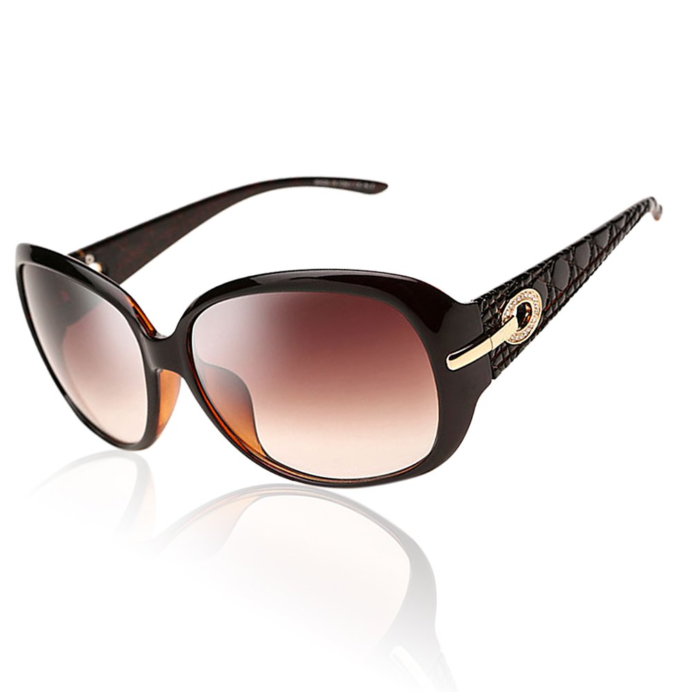 Brown Frame Brown Lens DUCO Women's Classic Stylish Designer Oval Polarized Sunglasses 100% UV400 Predection 6214