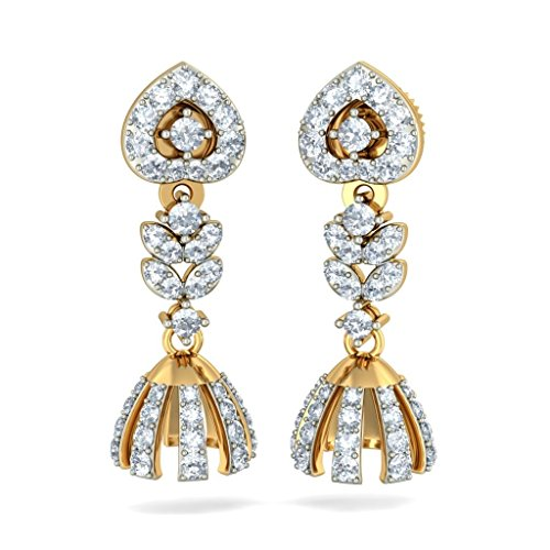 Or jaune 18K 1carat au total White-diamond (IJ   SI) Pendants d'oreilles