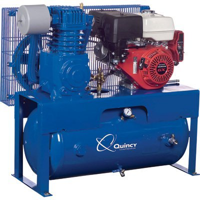 - Quincy QT-7.5 Splash Lubricated Reciprocating Air Compressor - 13 HP, Honda Gas Engine, 30-Gallon...