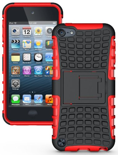 NAKEDCELLPHONE RED GRENADE RUGGED TPU SKIN HARD CASE COVER STAND FOR APPLE iPOD TOUCH 5 5th GENERATION (16GB 32GB 64GB)