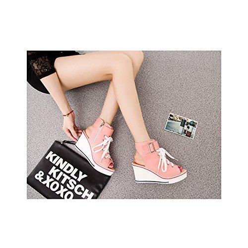OCHENTA Femme Baskets Mode en Toile Talon Compensé Chaussures de Sport Platform #4 Rose iwbucr