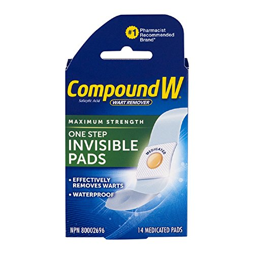 Compound W One Step Invisible Pads Salicylic Acid Wart Remover, Maximum Strength, 14 medicated pads