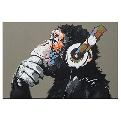AWLXPHY Decor Animal Oil Painting on Canvas Monkey with Headphone Large Wall Art for Living Room Modern 100% handmade Gorilla kids wall framed Artwork Giclee Christmas DJ Gift (32x48inch(80x120cm))