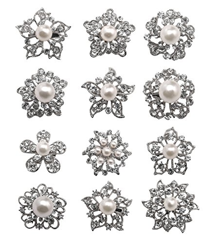 L'VOW 12px Pearl Brooches Mixed Designs Silver or Gold Colors Brooch Pins Wedding Corsage Bride Bouquet Kit (X- Silver)