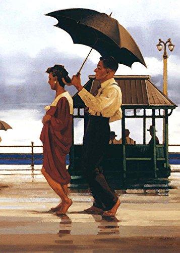 (The Singing Butler Jack Vettriano Umbrella Love Dancing Beach Rain Art Print Poster Wall Decor For Home Modern Decoration Print Decor For Living Room 20 x 27.5 Inch)