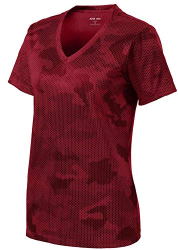 Red Camouflage T-shirt - Joe's USA - Ladies CamoHex V-Neck All Sport Moisture Wicking Shirt-XL-Red