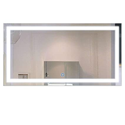 48 inch mirror framed decoraport 48 inch 24 horizontal led wall mounted lighted vanity bathroom silvered mirror with touch amazoncom