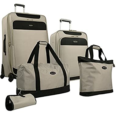 Travel Gear Star Bright 5 Piece Luggage Set, Wild Dove/Black, One Size