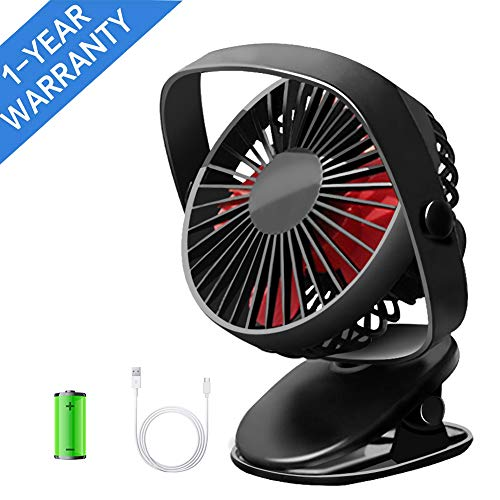 Mini Stroller Fan, ThreeMay Desk and Clip Fan, 5 Inch Table Portable Personal Fan with USB Rechargeable Battery Operated and 360° Rotation, 3 Speeds, Strong Wind, Small Quiet Fan for Baby Stroller