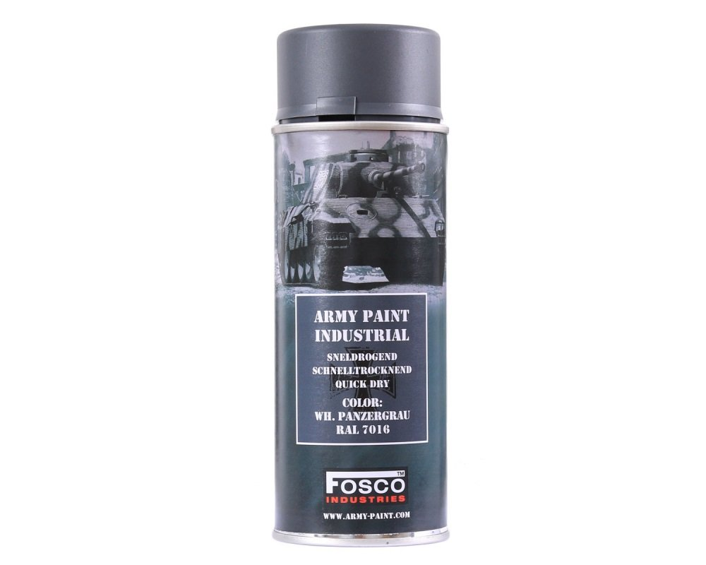Vernice militare professionale Spray ml 400 WH PanzerGrau Grigio Panzer Tedesco RAL 7016 Fosco Industries