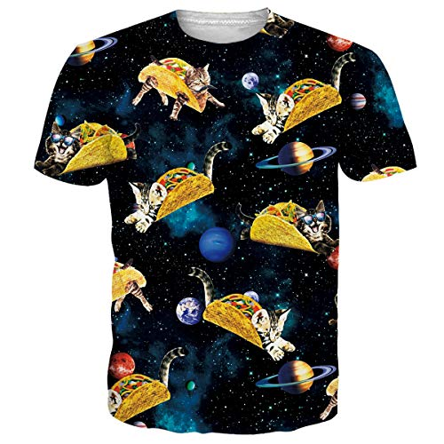 Alistyle Men 3D Short Sleeve T-Shirt Meat Roll Cat Creative Print Casual Graphic Tee S