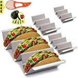 Taco Holder. 4 Stainless Steel Taco Holder Stands with Handle. A Taco Holder that is Safe for Oven Baking, Grill and Dishwasher. Taco Trays by Ewovations