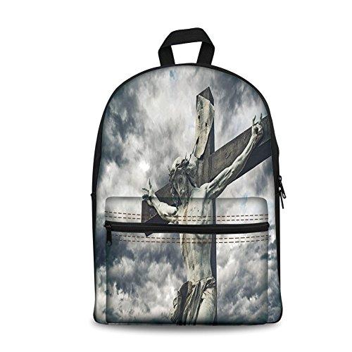 Mochila de diseño de moda para niños de vuelta a la escuela, bolsa de lona para libros, Religioso, Cruz con personaje...