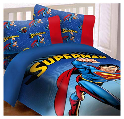 Superman Universe 4 Piece Reversible Super Soft Luxury Full Size Comforter Set (Comforter Luxury Reversible Set)