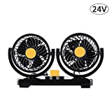 large 12v fan - Sundlight Car Fan, 24V Dual Head Electric Vehicle Fan 360 Degree Rotatable Car Auto Cooling Air Fan Powerful for Large Truck SUV RV Cigarette Lighter Socket