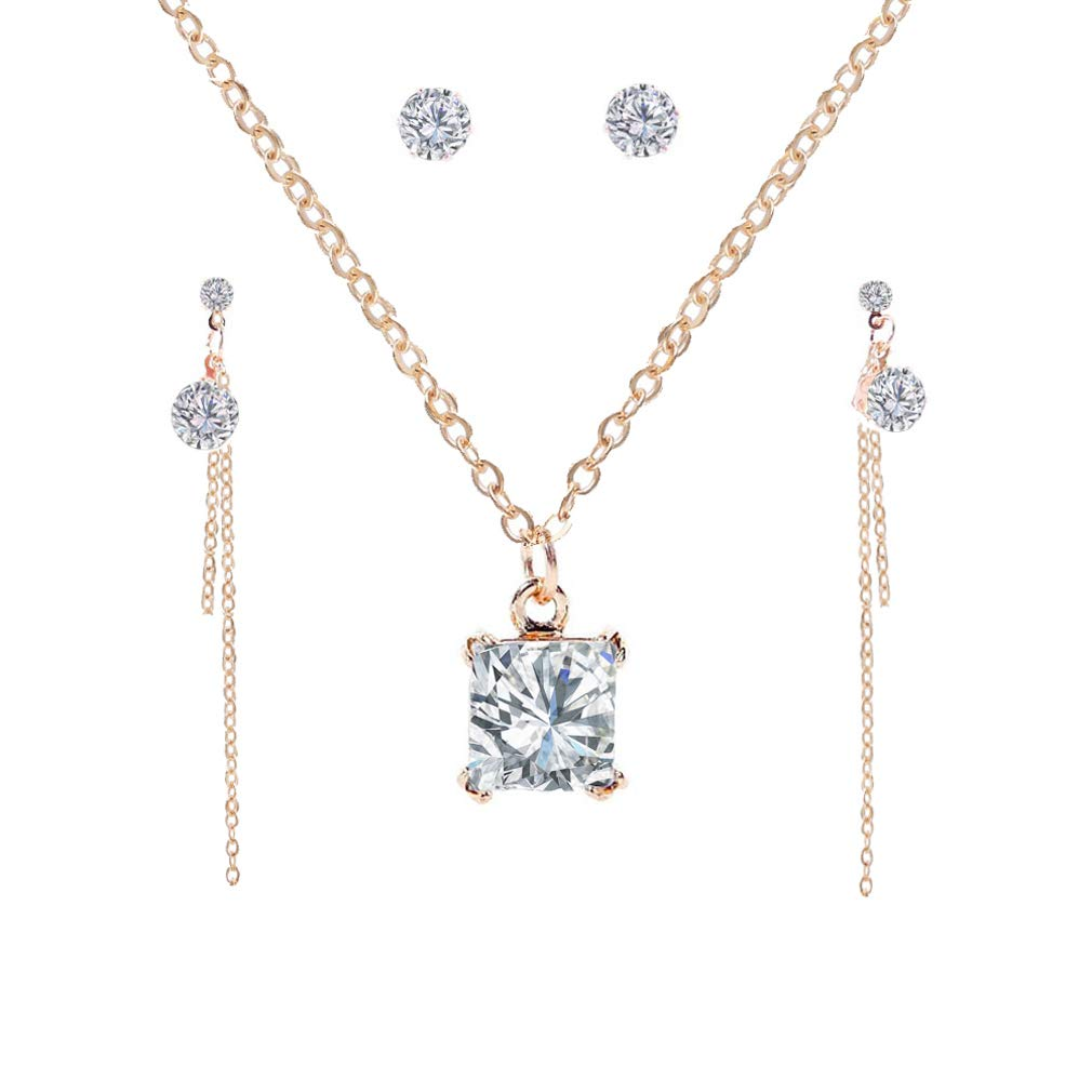 YAZILIND Square Cubic Zirconia Pendant Necklace Round Stud Link Dangle Clavicle Chain Jewelry Set
