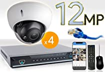 8 CH NVR with 4 4K 12MP Dome Cameras 4K Kit for Business Professional Grade FREE 1TB Hard Drive