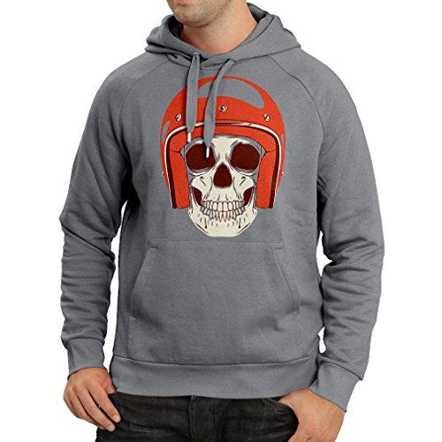 (Hoodie Moto Skull with Cap Helmet- Motorcycle Clothing, Motorbike Apparel, Riding Gear (Large Graphite Multi)