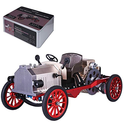 YIFAN Teching Mini APP Remote Control Electric Single-Cylinder Engine, Vintage Classic Car DIY Metal Mechanical Model High Level Educational Toy