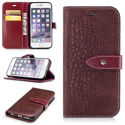 Football Premium Felt - iPhone 6/6S Case, JLAKBY [Crocodile Pattern] RFID-Resisting Premium PU Leather Wallet Case Flip Phone Case Cover with Card Slots for Apple iPhone 6/6S 4.7 Brown