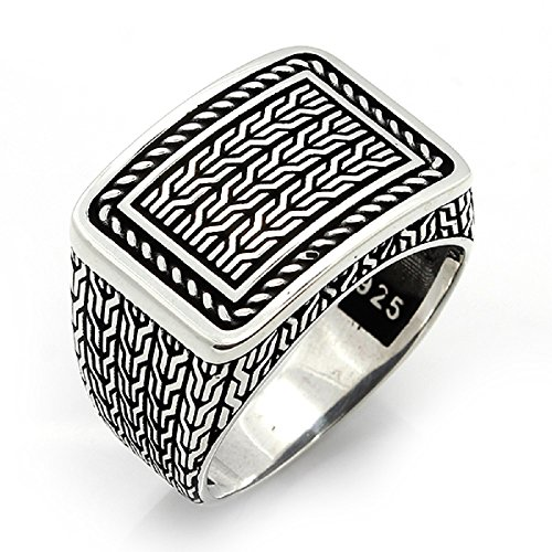 argunjewellery Turkish Ottoman Jewelry Braid Touch Motif 925K Sterling Silver Men's Ring ()
