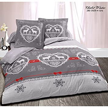 Alpes Blanc Housse De Couette 220x240 Chalet Winter Gris Amazon Fr