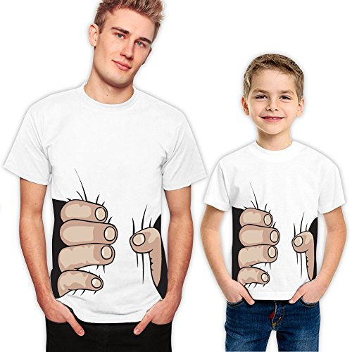Hands Squeeze Father Son Matching T-Shirts Set 480 M 2-3 yrs White