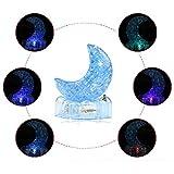callm Puzzle Toy,3D Crystal Puzzle Cute Model Shine Moon DIY Gadget Blocks Building Toy (Blue)
