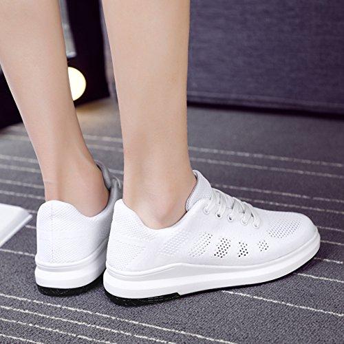 Newcolor Les De Femmes Chaussures Des Respirant Espadrilles Marche Occasionnels Blanc Plate Tricotent forme Lacent ddrxgSn