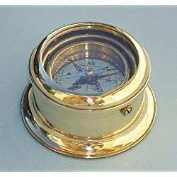 Engraved Round Gimbaled Brass Desk Compass