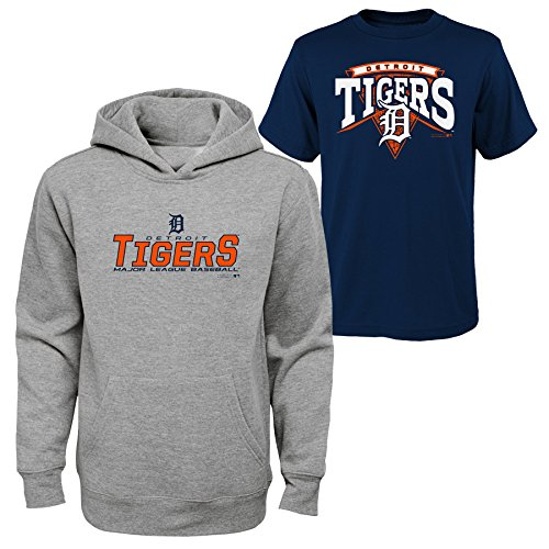 MLB Youth Boys 8-111 Detroit Tigers Tee & hood Set, Heather Grey, Youth Boys Medium(10-12) Tiger Athletic Sweatshirt