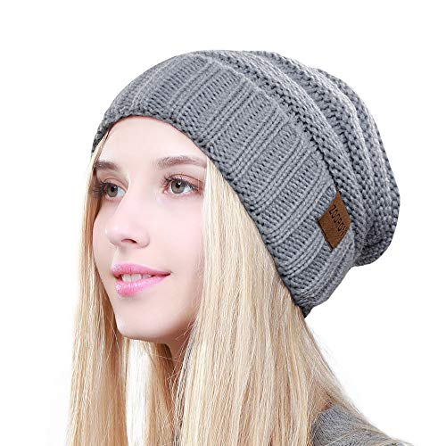 ZOORON Cable Knit Slouchy Beanie Soft Stretch Oversized Chunky Winter Warm Hats for Men Women, Trendy Thick Skull Cap (Style 2-Grey)