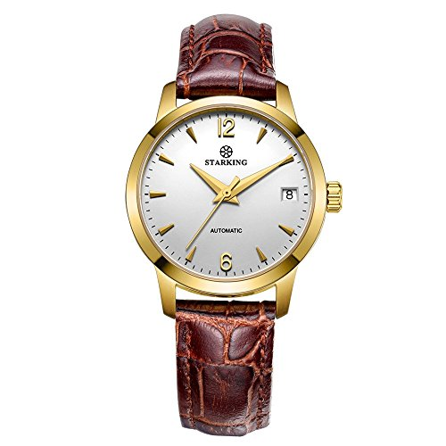 STARKING Women's AL0194GL91 Automatic Dress Watch Gold Case Brown Leather Strap
