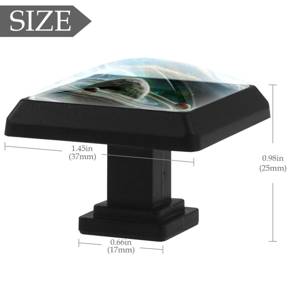 Planet a04 Square knobs for furniture Crystal Lens Form 3D Figure Display for wardrobe Wardrobe handle to decorate the childrens room Living room 1.38x1.1 in 3 PCS