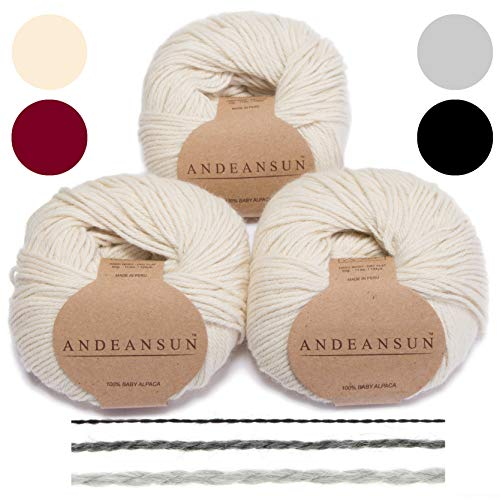 AndeanSun 100% Baby Alpaca Yarn (Weight #3) DK - Set of 3 Luxuriously Soft for Knitting, Crocheting - Great for Baby Garments, Scarves, Hats, and Craft Projects - (Ivory)