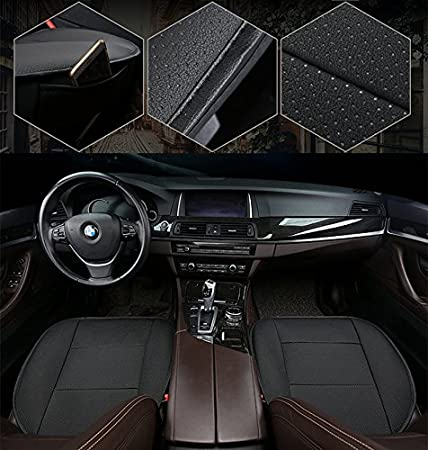 3 Pack Front Seat Cover Without Backrest HONCENMAX Luxury Car seat Cover Cushion Pad Mat Protector for Auto Supplies for Sedan Hatchback SUV PU leather
