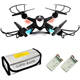 X400WH FPV Quadcopter Drone with Camera Live Video, 2 battery and Fireproof Pouch, 2.4GHz 4CH 6-Axis Gyro Altitude Hold Hover Drone, RTF Quadcopter Helicopter with Headless Mode, One Key Return Black