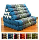 LivAsia Two Fold Thai Cushion, 47x20x3 inches (LxWxH), 100% Natural Kapok Filling, Foldable Thai Mat with Triangle Cushion, Headrest, Thai Pillow
