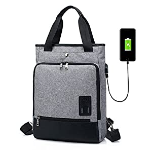 Backpack Shoulder Handbag 2 in 1 SINOKAL Laptop Backpack for Men Women College School Bookbag with USB Charging Port Rucksack for Travel Sports Casual Daypack (Gray)