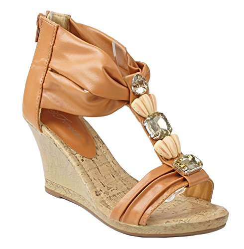 aded Strappy Ankle Cuff Comfort Cork Platform Wedge Dress Sandal Shoes-7.5 ()