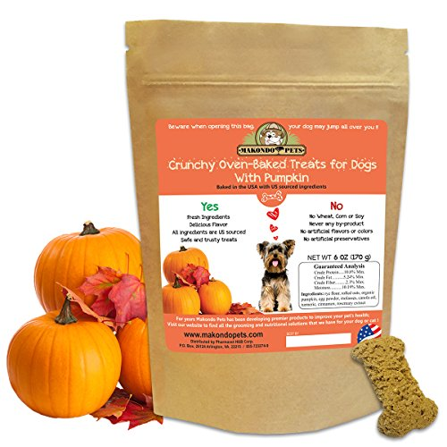 Crunchy Treats for Dogs with Pumpkin By Makondo Pets- Bag Of 6 oz- 5 Delicious Flavors- USA Made Dog Treats For Small Or Large Breeds- All Natural, Safe & Healthy Dog Training Treats